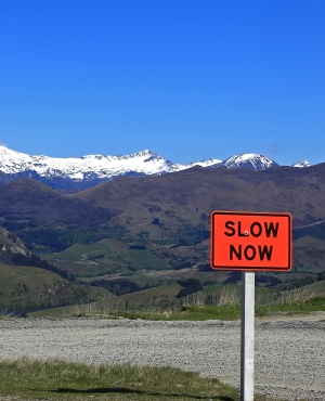 slow down sign to illustrate why the first thing a new marketing manager does is critical